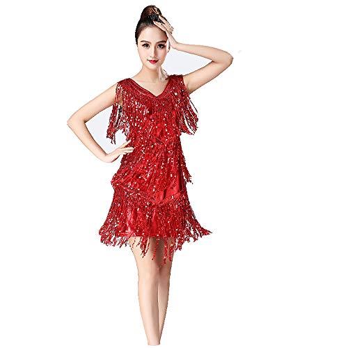 Tanz Für Wettbewerb Kostüm Zeitgenössische - Frauen Dancewear Metallic Pailletten Fransen Quasten Ballsaal Samba Tango Latin Dance Dress Wettbewerb Kostüme Swing Rumba Kleid Frauenkleidungs-Outfits für Erwachsene ( Farbe : Rot , Größe : M )