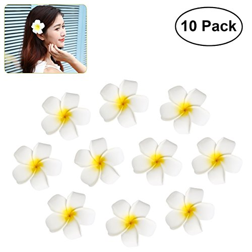Frcolor Hawaï Flower Hair Clips Hairpin Simulation Egg Flower Headdress pour mariage Beach Party 10pcs 7cm