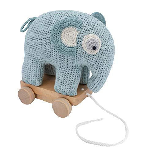 Sebra Fanto Der Elefant, Lagoon Blue - Peluche de Ganchillo, Color Azul