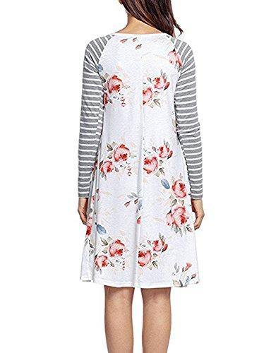 CODIFFEREN Frauen Langarm Kleid U-Ausschnitt mit Blumenmuster Size Retro Stitching Abbildung 2