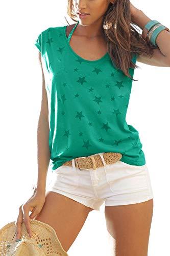 Lantch Damen T-Shirt Top Sommer Basic Kurzarm Shirts Baumwoll Tee Freizeit Oberteile(gr,XL) -