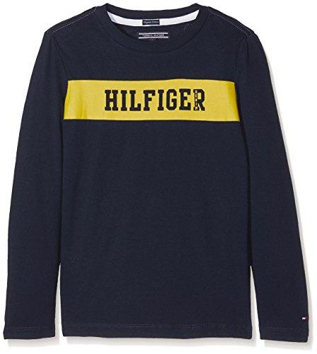 Tommy Hilfiger Mädchen Regular Fit T-Shirt AME BIG LOGO CN TEE L/S Einfarbig, Blau (Navy Blazer 431), 104 cm