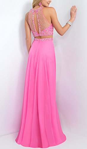 Bridal_Mall Women's Sheer Beaded Jewel Neck 2 Pieces Sparkly Prom Gowns Pink