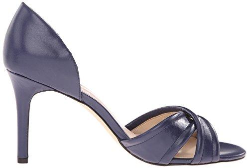 Nove in pelle con tacco del sandalo occidentale Fortunata Navy