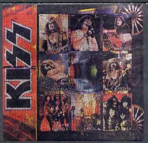 Metallic Kiss (Karjala Republic 2000 Kiss imperf sheetlet 9 values printed on metallic foil u/m MUSIC POPS ROCK JandRStamps)