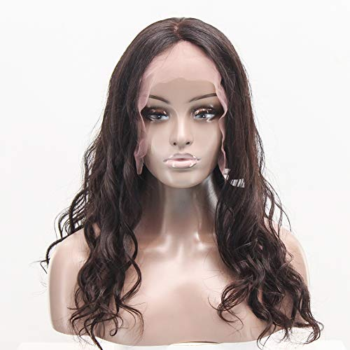 PKQ® Perücken Damen, 100% Echtes Human Hair Front Lace Perrücke Frauen Lang Wellig Locken Hohe Qualität Menschliche Haar Vordere Spitze Perücke Long Gelockt Wigs for Women Curly - Kostüm Brasiliano