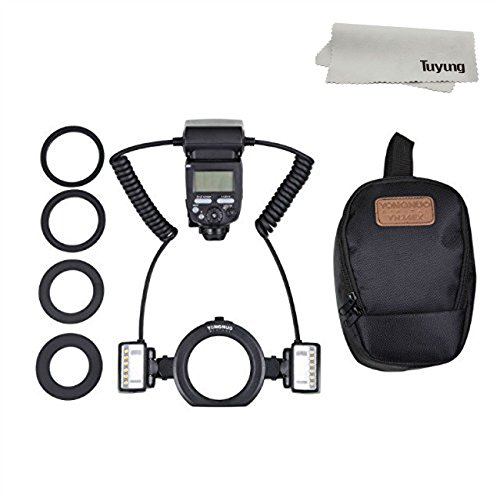 Yongnuo yn24ex E TTL Makro Flash Speedlite mit 2Flash Kopf und 4PCS Adapter Ringe für Canon EOS 1DX 5D36D 7D 70D 80D Kameras