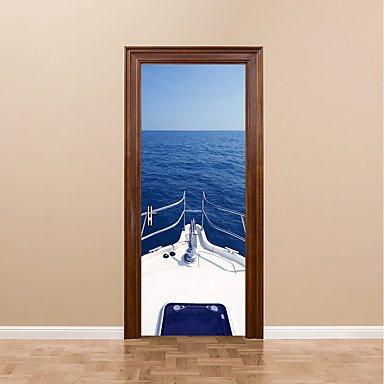 HY&GG 2 Pcs/Set 77 * 200 Cm Diy 3D Tür Aufkleber Motorboot Yachtcharter Aufkleber Für Kinder Zimmer Tür Dekoration Meer Boot Landschaft Wandaufkleber Wandbild Aufkleber Tür