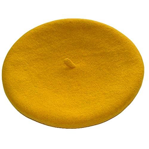 Kopfbedeckung Wolle Damen Winter-Beret Fashion Hairy Französisch Berets Winter warme Hüte für Frauen-Mädchen (gelb)