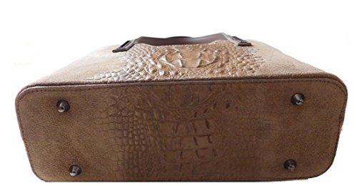 Borsa a mano in vera pelle scamosciata stampata cocco BC1032 Taupe