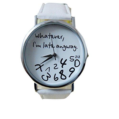 Valentinstag Uhren Dellin Heiße Frauen-Leder-Uhr, was Auch Immer Ich Bin Spät Brief-Uhr-Uhr-Neues (Weiß)