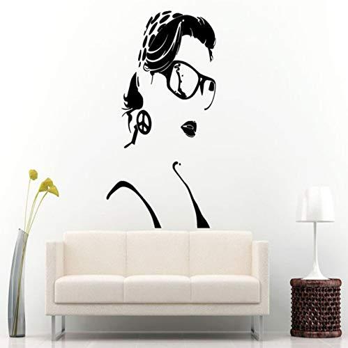 Mädchen Schönheitssalon Wandtattoo Bandana Brille Vinyl Friedenszeichen Kunstwand Stiefel Abnehmbaren Ton Wandaufkleber 90x57cm