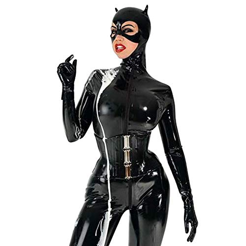 Frauen Full Cover Latex Catsuit für Frauen Fetisch Gummi Front RV Bodysuit Korsett Club Tragen Sie mit Handschuhen und Socken (XXS(B80 W64 H82 cm)) Club Korsett