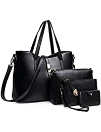 SIFINI Women Fashion PU Leather Handbag+Shoulder Bag+Purse+Card Holder 4pcs Set Tote Bag