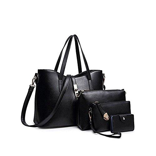 SIFINI Frauen Mode PU Leder Handtasche + Schultertasche + Geldbörse + Kartenhalter 4er Set Tote Bag (Leder Handtaschen Und Geldbörsen)
