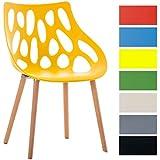 CLP Silla de visita de diseño retro HAILEY, mezcla de materiales: plástico reforzado, madera de haya, altura del asiento 44 cm amarillo