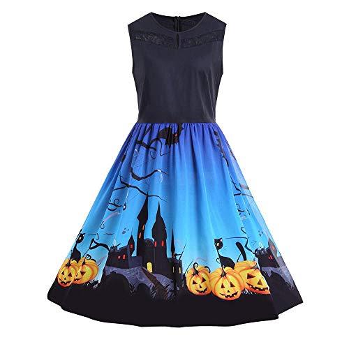 Sumeiwilly Damen Halloween Kleider Vintage 1950er Jahre Klassisch Rockabilly Retro Kürbis Muster Print Cocktail Abend Swing Party Kleid Faltenrock