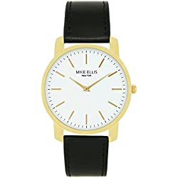 Mike Ellis New York Unisex Quartz Watch with White Dial Analogue Display and Imitation Leather Black - SM4527H8
