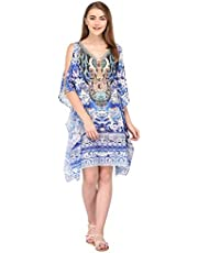 Trendif Women's Faux Georgette Blue Digital Print Kaftan (3326)