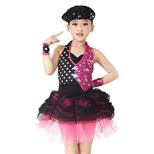MiDee Zwei Stück, Pailletten Schulterfreien Jazz - Blase Kleid Tanzen Kostüm (XSC, (Zwei Jazz Kostüme Dance Stück)