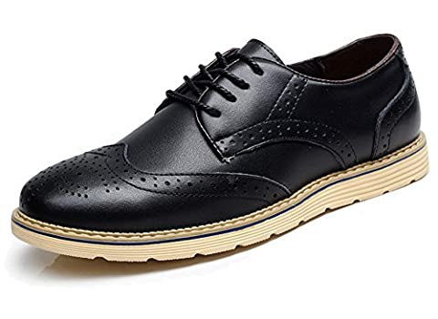 Fangsto Men's Leather Oxfords Brogue Flat Shoes Lace-up UK Size 6.5 Black