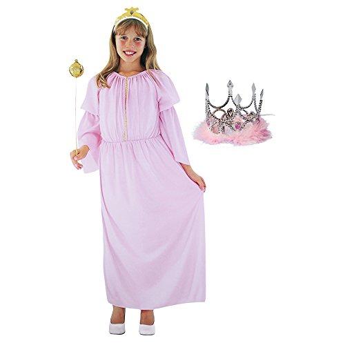 n in Rosa Kinder-Kostüm Set für Fasching, Karneval, Halloween (Gr. S (4-6 J.) +Krone) (Rosa Minnie Mouse-halloween-kostüm)