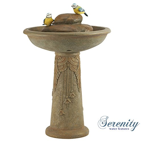 Ornamental Bird Bath Water Feature Fountain Stone Effect Bowl For Garden With Blue Tits Weatherproof Poly Resin (Bird Bath)