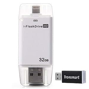 i-Flash HD Drive 32GB USB + 8-pin Port Flash Drive Memory Stick pour iPad iPod iPhone 5s iPhone 6 - Blanc