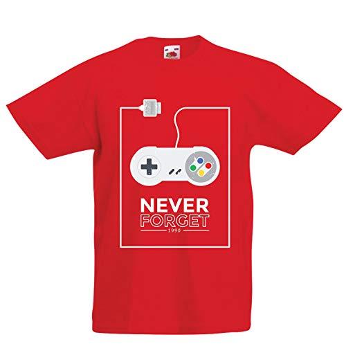 lepni.me Kinder Jungen/Mädchen T-Shirt Vintage Videospiel-Controller, Geschenke für Gamer (7-8 Years Rot Mehrfarben)