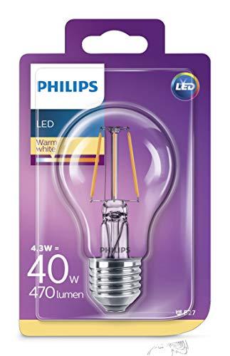 Philips ampoule LED E27 Filament 11W Equivalent 100W Claire Blanc chaud