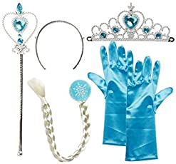 Frozen Princess Dress Up Party Accessories - Gloves, Tiara, Wand and Wig/New Frozen Princess ELSA Plait Tiara and Wand Set by Baby ,Blossoms and Hand Gloves