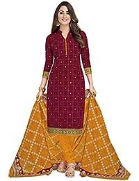 Miraan Women's Cotton Unstitched Dress Material (SGPRI1804, Multicolour, Free Size)