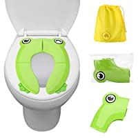 FITNATE Folding Travel Potty Seat Covers Liners with Skin Friendly Abs Nonslip Silicone Carry Bag - Easy to Carry and Use When Outside or Potty Training