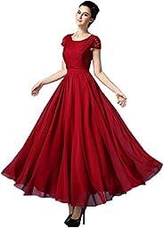 Round Neck Sleeveless Flower Design Dress For Women (with Belt)