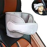 Pejoye Ajustable Asiento para el Automóvil Asiento para la Cabeza Banda de Soporte Suave Material de Algodón PP Seguridad para Dormir Siesta Ayuda para Aliviar el Cuello (Gris)