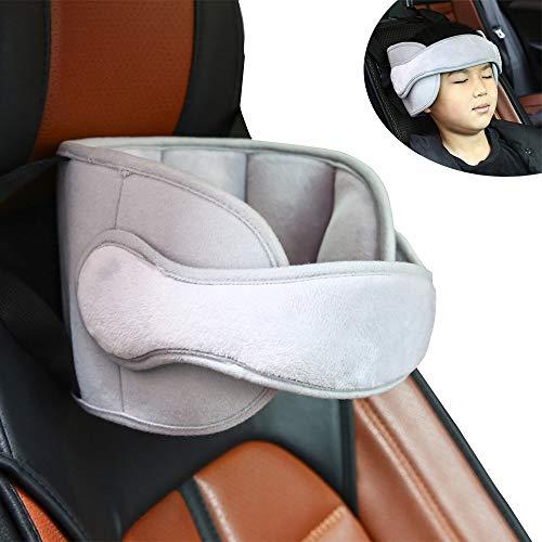Pejoye Einstellbare Schlaf Stellungsregler Kinderwagen Auto Kindersitz Befestigung Riemen Kopf Halter Unterstützung Kristallweiches PP-Baumwollmaterial für Lange Zeit Fahren (Grau)