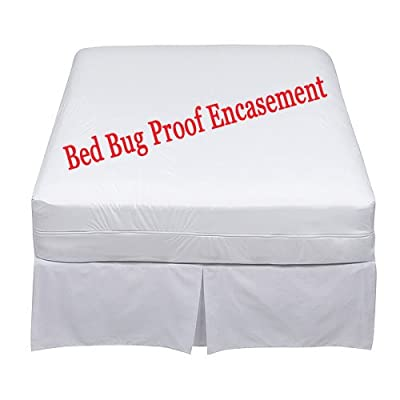 Bed Bug Proof Mattress Encasement Protector Cover|Absorbent|Anti Allergy|Anti Dust Mite|Anti Bacterial|6 Months Warranty|Non Noisy|Ease Asthma|Itchy Feelings|Allergens|Pet Dander All UK Sizes Single, Small Double, Super King, Bunk, 4ft,Three Quarter ,4foo