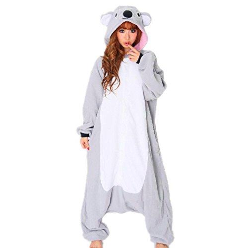 Unisex Einteiler-Pyjama, Erwachsene Flanell Schlafanzug, Tier-Schlafanzug Onesie Koala-Bär L