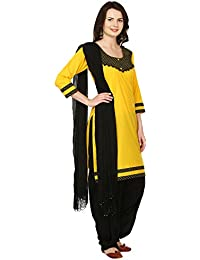 INDIAN FAIR LADY Printed Yellow & Black Color Stitched Cotton Suit Set For Women