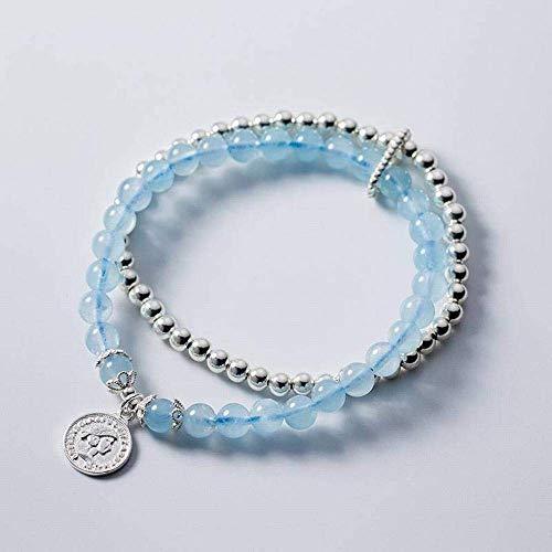 Ibuprofen Armreifen Armbänder S925 Silber Armband Damenmode Persönlichkeit Runde Porträt Runde Armband Aquamarin Kristall Armband - Aquamarin Seife