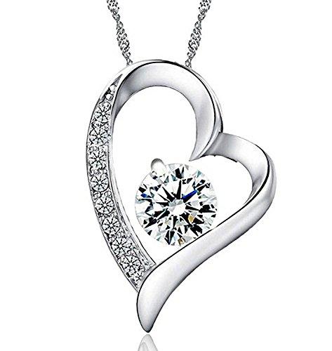 Joyfulshine Damen Herz Anhänger 925 Silber Zirkonium Liebe mit Kette 18 Zoll