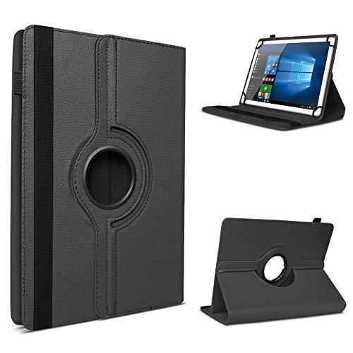 UC-Express Tablet Schutzhülle für 10-10.1 Zoll Tasche aus hochwertigem Kunstleder Standfunktion 360° Drehbar Universal Case Cover, Farben:Schwarz, Tablet Modell für:i.onik TM3 Serie 1 10.1