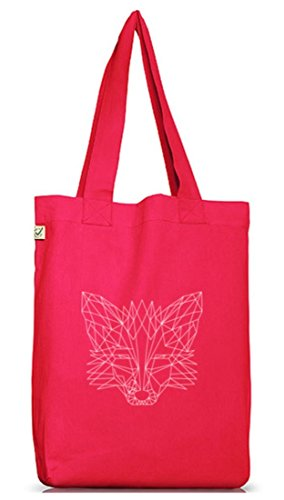 Fox Jutebeutel Stoffbeutel Earth Positive mit Polygon Fuchs Motiv Hot Pink