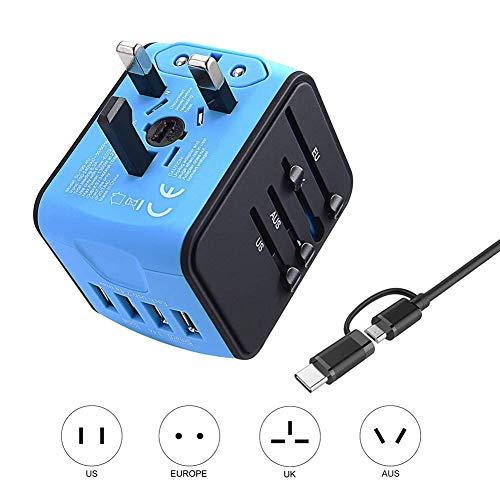 ZLIJUN Weltweiter Reiseadapter, 4 USB-Anschlüsse Universeller Reiseadapter Internationaler Netzadapter Stecker Asien 220 Länder - Blau