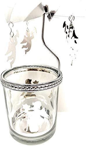 Windlicht Engel Karusell Glas Metall H 17 cm Engel Windlicht Teelicht Karussell Silber Glas Farbe Silber -