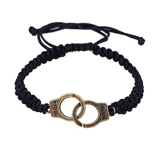 WooCo Neue Handschellen Armband für Frauen, Damen Armband Punk Geflochtene Handschellen Geschenk Edlen Schmuck Mode(Gold) -