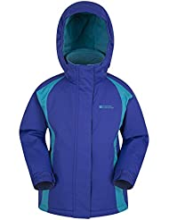 Mountain Warehouse Honey Kids Ski Jacket - Snowproof Childrens Jacket, Adjustable Cuffs, Fleece Lining Winter Coat, Integrated Snow Skirt - Ideal To Keep Children Warm