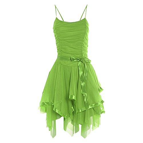 Senza maniche da donna, modello Strappy-Up-Canottiera da donna in rete balza arricciatura o da festa Apple Green - Sleeveless One Size Party Dress