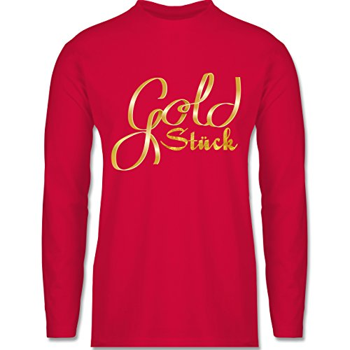 Statement Shirts - Goldstück - Longsleeve / langärmeliges T-Shirt für Herren Rot