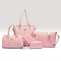 5-Piece Classic Tote Bag Set -Pink